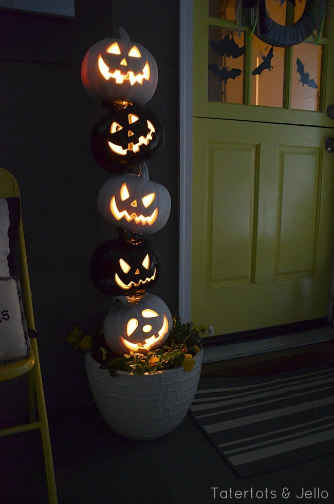 Stacked pumpkin topiary