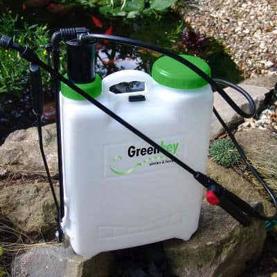 This large 12 litre knapsack sprayer by Greenkey is ideal for spraying chemicals such as pesticides and weedkillers and is designed for extensive use. Very high quality product designed for professionals and landscapers.