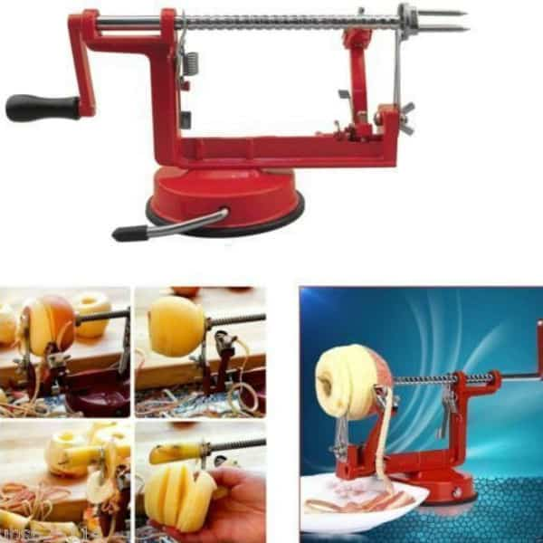 Apple machine, peels, slices and cores.