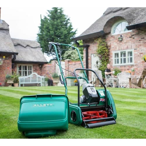 Allett Liberty 35 Self-Propelled Cordless Cylinder Mower on lawn