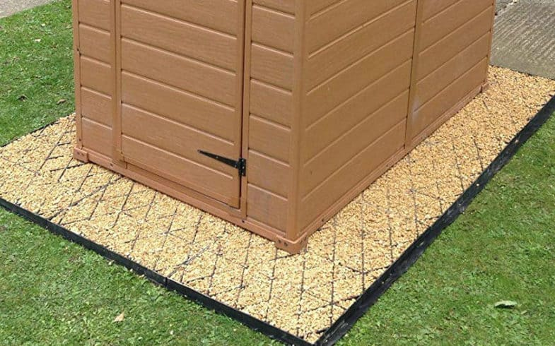 The Best Shed Base –  Includes plastic grids, wood frames and even a Jack style design for uneven ground
