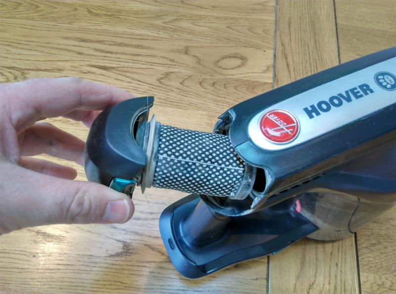 Hoover H FREE HFCPT air filter which needs cleaning to prevent loss of air suction