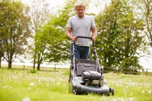 Professional lawn mower cutting grass and collecting