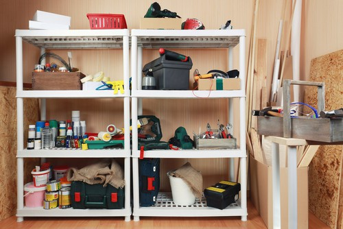 shelving with tools on